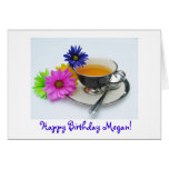 Megan's ( name)  birthday teacup & daisies greeting card