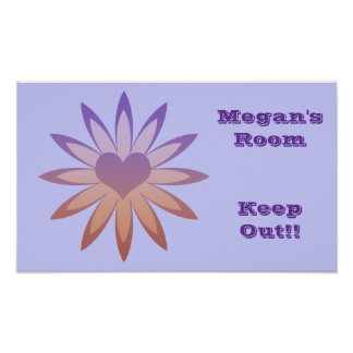 Megan's room, keep out, purple, pink flower, heart poster
