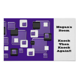 Megan's room, knock, purple black & white squares poster
