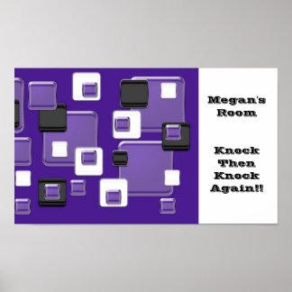 Megan's room, knock, purple black & white squares poster