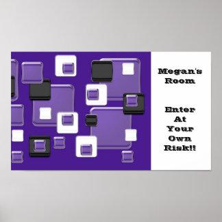 Megan's room, purple black white squares poster