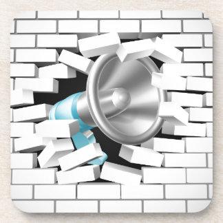 Megaphone Breaking Brick Wall Drink Coaster
