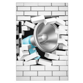 Megaphone Breaking Brick Wall Dry-Erase Board
