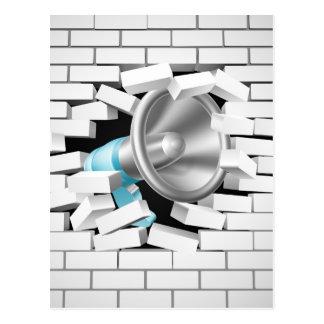 Megaphone Breaking Brick Wall Postcard