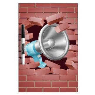 Megaphone Breaking Through Brick Wall Dry-Erase Board
