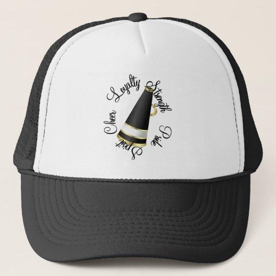 Megaphone Cheer in Black Trucker Hat