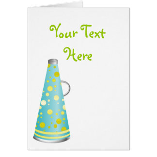 Megaphone in Turquoise and Lime Green Card