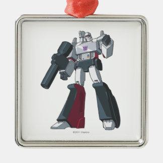 Megatron 1 adorno cuadrado plateado
