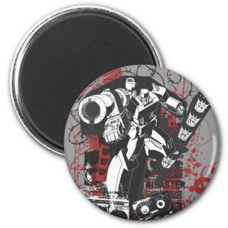 Megatron Grunge Collage 2 Inch Round Magnet