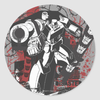 Megatron Grunge Collage Classic Round Sticker