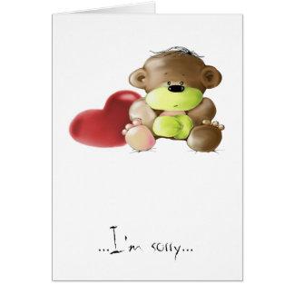 Megg: A cute teddy bear - sad, I'm sorry Card