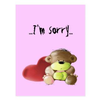 Megg: A cute teddy bear - sad, I'm sorry, postcard