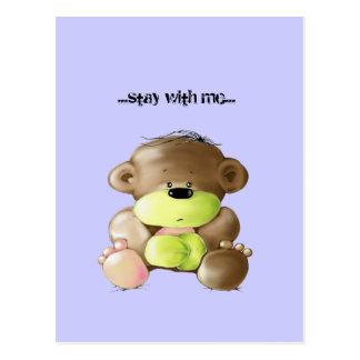 Megg: A cute teddy bear - sad, postcard
