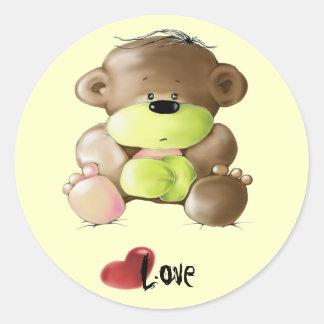 Megg: Un oso de peluche lindo - triste, amor Pegatina Redonda