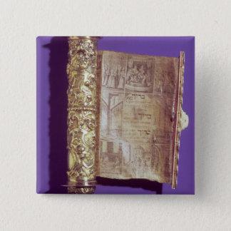 Megillah  in a silver case, Vienna, c.1715 Pinback Button