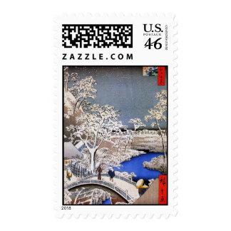 Meguro Drum Bridge and Sunset Hill Hiroshige Postage Stamps