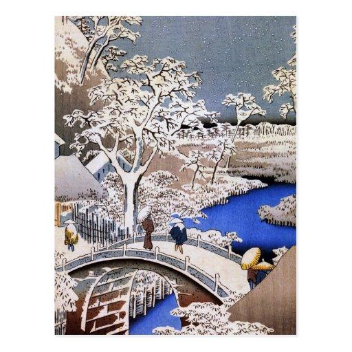 Meguro Drum Bridge and Sunset Hill, Hiroshige Postcard