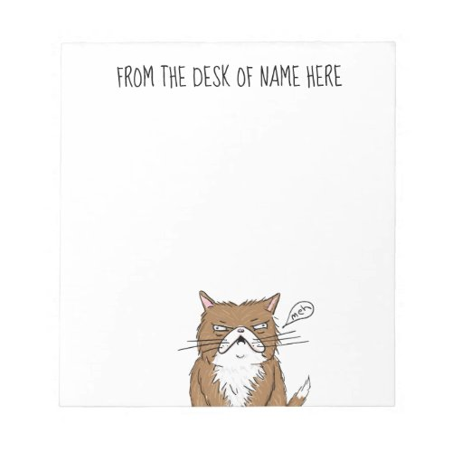Meh Funny Grumpy Cat Drawing Notepad