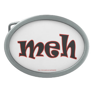 meh geek dork nerd text joke funny humor oval belt buckle