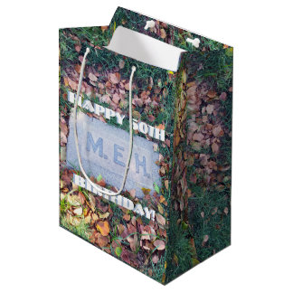 Meh Gravestone Morbid Humor Funny Custom Birthday Medium Gift Bag