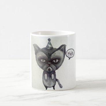 Coffee Themed meh grumpy cat party tea coffee mug art
