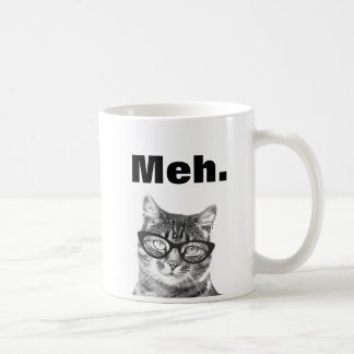 Meh meme funny apathy quote cat mug