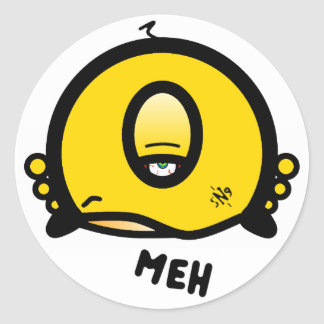 Meh (& the cool round thing with one eye) classic round sticker
