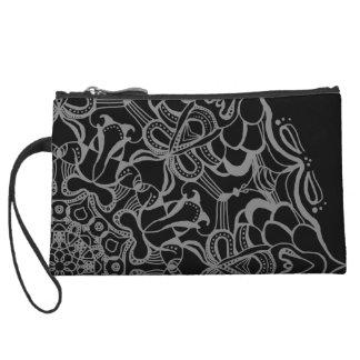 MehDea Clutch bag - Grey and Black Floral Mandala