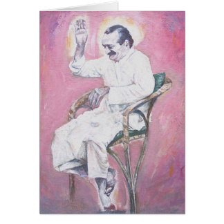 Meher Baba laughing, CARD (blank message)