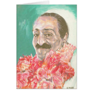 Meher Baba with flowers Cards