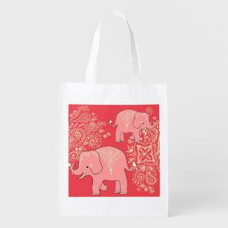 Mehndi Elephants reusable shopping bag tote