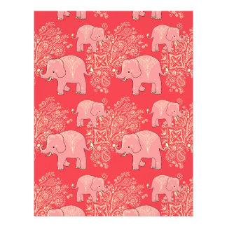 mehndi elephants scrapbook paper 8.5 x 11 customized letterhead
