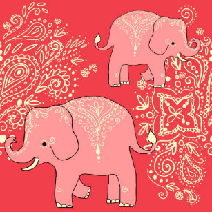 Mehndi Elephants Shower Curtain Coral And Peach