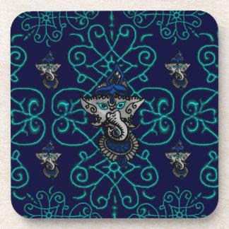 Mehndi Ganesha (Blue) Beverage Coaster
