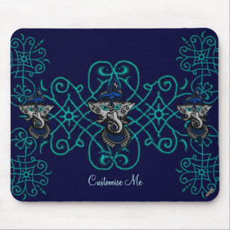 Mehndi Ganesha (Blue) Mouse Pad