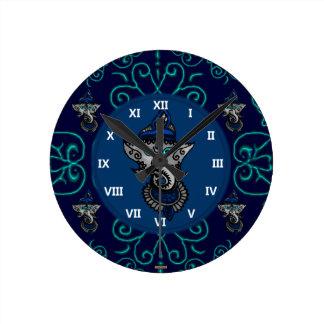 Mehndi Ganesha (Blue) Round Clock