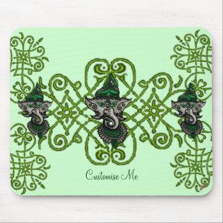 Mehndi Ganesha (Green) Mouse Pad