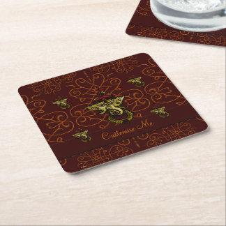 Mehndi Ganesha (Red) Square Paper Coaster