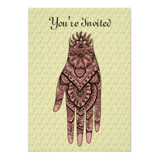 Mehndi Hand Tattoo Art Design Invitation