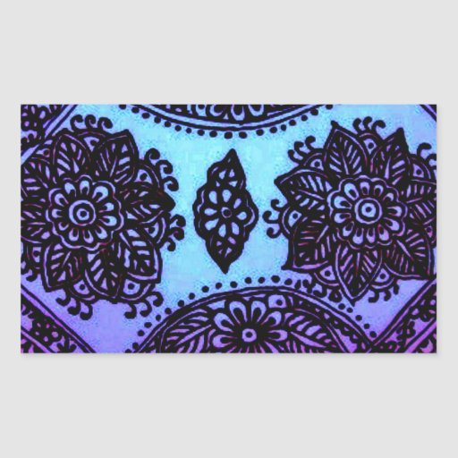 Mehndi Henna Blue Mix Rectangular Sticker
