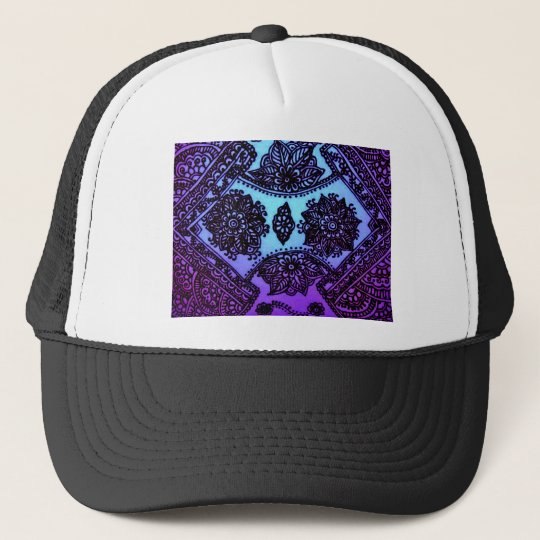 Mehndi Henna Blue Mix Trucker Hat