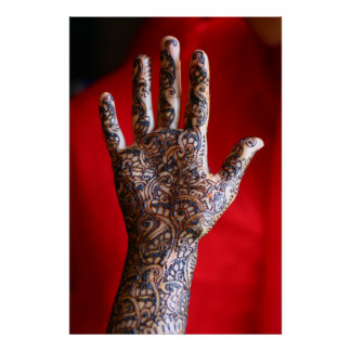 Mehndi henna hand poster