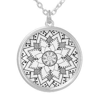 Mehndi / Henna style lotus flower blossom necklace