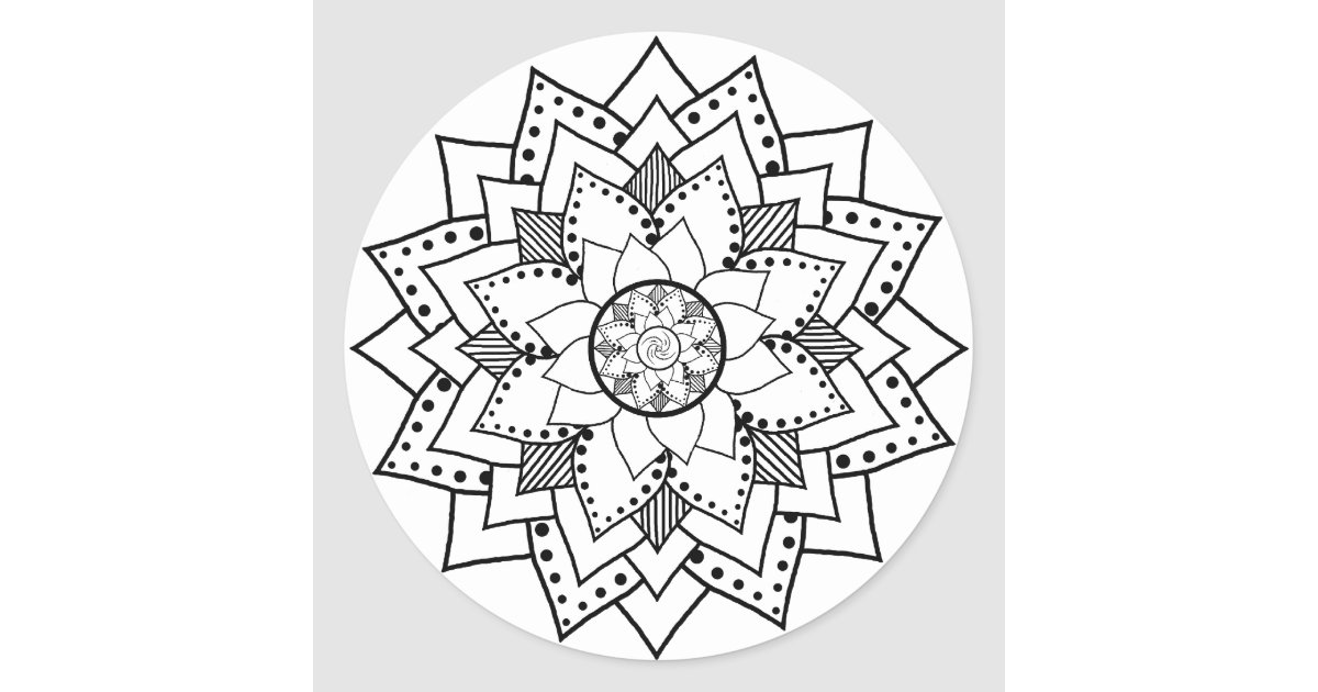 Mehndi henna style lotus flower blossom sticker zazzle mightylinksfo