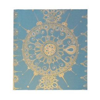 Mehndi Inspired Design (Blue and Gold) Memo Note Pad