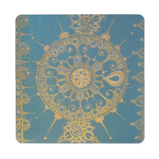 Mehndi Inspired Design (Blue and Gold) Puzzle Coaster