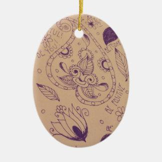 Mehndi / Mehandi Doodles Ceramic Ornament
