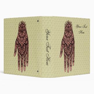 Mehndi Pink Hand Tattoo Art Design 3 Ring Binder
