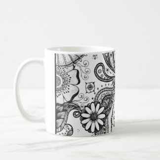 Mehndi Style Pen and Ink Original Artwork Coffee Mug