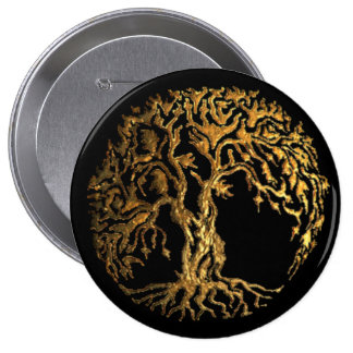 Mehndi Tree of Life (Gold) 4 Inch Round Button